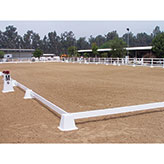 Block and pre-measured rail system for easy and accurate arena setup.  Made of white 100% UV stabilized PVC which is tough and durable to withstand all weather conditions.  Designed to be very stable in high wind areas.  Rails are 1 1/2