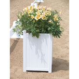 Beautify your dressage arena or show barn entrance. Holds up to a 5 gallon plant. Can be used as a dressage arena marker by hanging Rail Dressage Letters over the top edge of the box. White. 14 3/4&quot; square x 22&quot; high. <br><em>Prices include shipping to continental US address.</em>