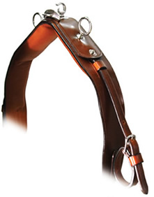 An all-purpose leather harness that is sumptuously padded for everyday training, competition, or recreational use.  Features include patent teardrop and blinkers, hand-stitched open keepers on bridle, no staples on bridle, rolled throatlatch, chain browband, padded noseband on hangers, padded jawstrap, padded breastcollar, padded neckstrap, padded false martingale, padded girth, padded breeching, doubled hipstrap and neckstrap, stainless steel tree, choice of saddle widths, fully padded skirts on saddle, stainless steel tongues on all buckles.  Dual-end traces with stainless steel dee-end plus tab with slot-end are standard.  Russet reins included.  <i>Made in the USA with leather tanned in the USA.<i>