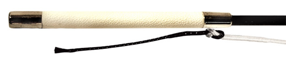 Fiberglass Driving Whip with White Grip and White Lash with Popper
